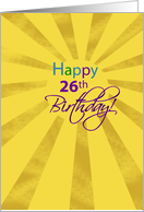26th Birthday Sun card