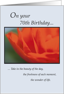 70th Birthday Flower card
