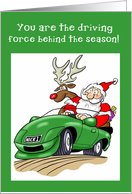Santa Driving Car, Automotive Business Thank You card
