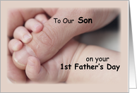 To Son, First Father's Day, Baby, Hand card