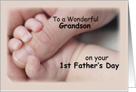 To Grandson, First Father's Day, Baby, Hand card