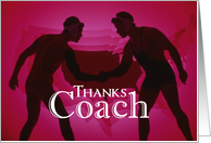 Thanks Wrestling Coach, Red, Black Silhouette card