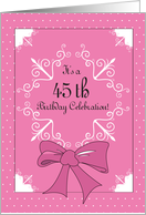 45th Birthday Invitation, Pink for Her card