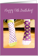 13th Birthday, Fun Socks with Hearts card