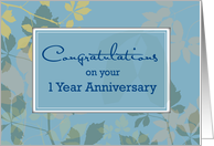 1 Year Employee Anniversary with Leaves on Blue, Congratulations card
