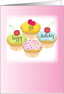 11th Birthday, Cupcakes, Pink card