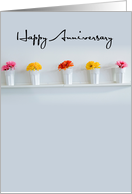 Son, Daughter-in-Law, Happy Anniversary, Contemporary Flowers card