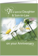 Daughter & Son-in-Law Anniversary, Flowers, Green card