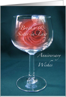 Brother & Sister-in-Law Red Rose in Wineglass Anniversary Wishes card