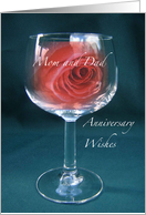 Mom and Dad Red Rose in Wineglass Anniversary Wishes card