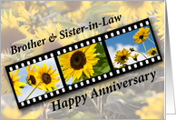 Brother & Sister-in-Law Wedding Anniversary Sunflower Filmstrip card