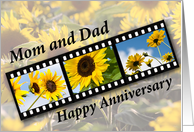 Mom and Dad, Wedding Anniversary Sunflower Filmstrip card