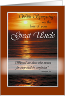 Great Uncle, Christian Sympathy and Religious Condolences, Ocean, Sunset card
