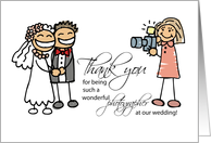 Woman Photographer, Stick Figures, Wedding Thanks card