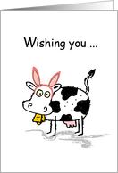Cow, Easter Rabbit Ears, Humorous, Funny card