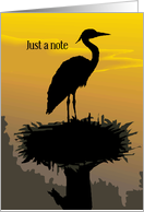 Across the Miles Heron in Nest Silhouette Coastal Ocean card