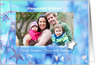 Hanukkah Wishes Photo Card with Blue Stars card
