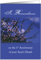 Remembrance 1st Anniversary Death of Aunt, Religious card