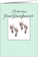 Great Grandparents on Twins, Baby Footprints, Great Grandchildren card
