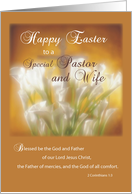 Pastor and Wife, Happy Easter, Lilies and Cross of Flowers card