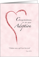 Girl Adoption Congratulations, Pink with Heart card