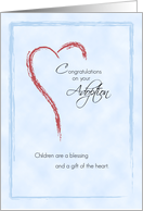 Boy Adoption Congratulations, Blue with Heart card