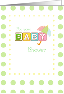 Baby Shower Congratulations, with Umbrella on Green Dots card