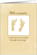 Sympathy Loss of Baby through Miscarriage, Yellow, Gender Neutral card