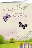 Thank You Music Teacher, Butterflies and Music card
