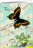 Butterfly Music Thanks card