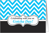 Blue Chevron Stripes on Black, Gotcha Day celebration card