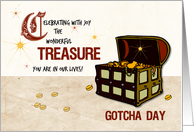 Treasure Chest of Pirate Gold Gotcha Day Celebration, Adoption card