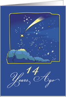 Adoption Anniversary 14 Years, Night Sky with Adopted Shooting Star card