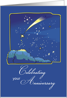 Adoption Anniversary, Gotcha Day, Night Sky with Adopted Shooting Star card
