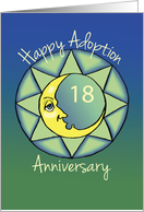 18th Adoption Anniversary, Happy Moon on Green and Blue card