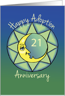 21st Adoption Anniversary, Happy Moon on Green and Blue card
