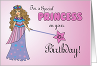 10th Birthday Pink & Purple Princess, with Sparkly Look and Wand card