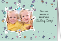 Twins Birthday Invitation, Photo, Custom, Personalized, Flowers, Dots card