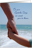 Gotcha Day Holding Hands on Beach Adoption Anniversary card