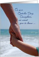 Daughter Gotcha Day Holding Hands on Beach Adoption Anniversary card