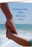 Father's Day Dad, Holding Hands on Beach and Ocean card