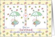Invitation - double baby shower for sisters card