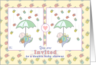 Invitation - double baby shower card