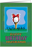 Husband Happy Birthday Golf ball present card