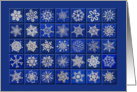 White on Blue Snowflakes Birthday card