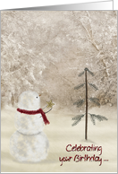 Birthday on Christmas with snowman and gold star card