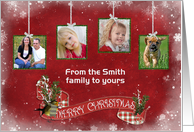 Merry Christmas family photo card with hanging tinsel frames card