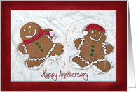 sister's December anniversary with gingerbread cookie couple card