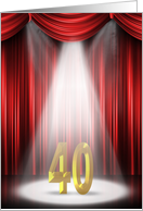 40th Birthday party invitation with spotlight and red curtains card