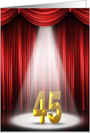 45th Birthday party invitation with spotlight on stage with curtains card